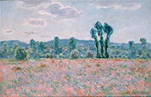 'Poppy Field in Giverny, 1890 By Claude Monet' oil painting, 24x37 inch / 61x94 cm ,printed on Cotton Canvas ,this Beautiful Art Decorative Prints on Canvas is perfectly suitalbe for Gym decoration and Home artwork and Gifts