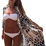 BCDshop Women Bikini Beach Coverup Shawl Boho Leopard Print Kimono Cardigan Top Blouse Shirt (XL)