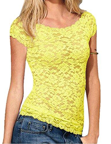 pour courtes manches shirts motif t Legou pour Jaune femme tops dentelle femme dbardeur Jaune EvUqUxR8