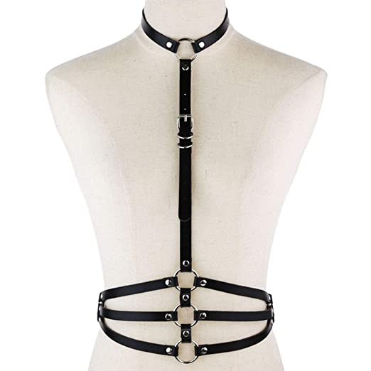 Cinturón de abdomen de cuero arnés del cuerpo sujetador punk ...