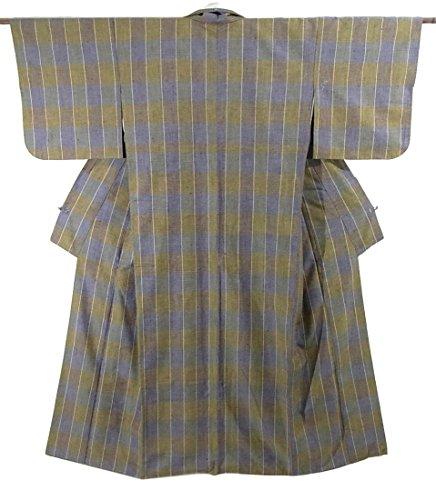オーナメント前提条件スーダンリサイクル 着物 紬 格子模様 正絹 袷 裄67.5cm 身丈160cm
