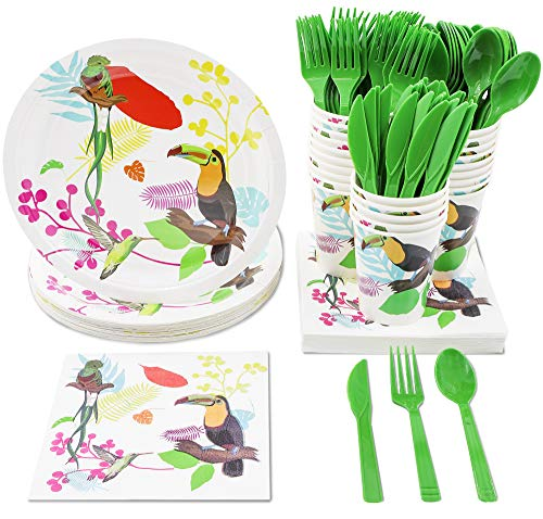 Tropical Party Supplies - Serves 24 - Includes Plates, Knives, Spoons, Forks, Cups and Napkins. Perfect Party Pack for Birthday Parties and Bridal Showers, Bird Pattern -