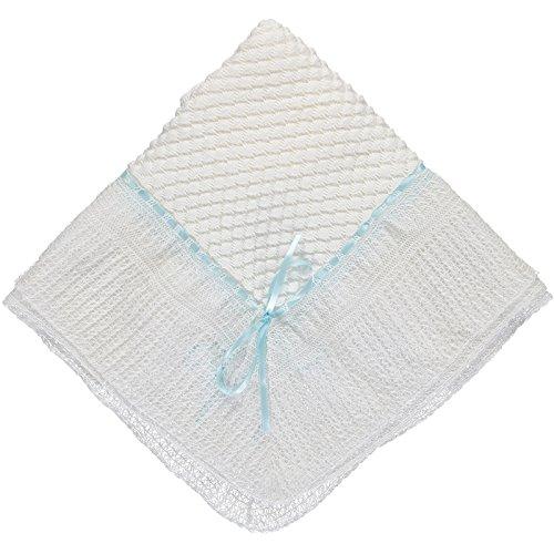Julius Berger Belgium Lace with Blue Ribbon Blanket