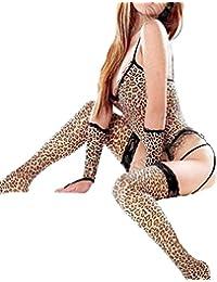Sexy Lingerie Nightwear Leopard Garter G-string Gloves Stocking Bodystocking