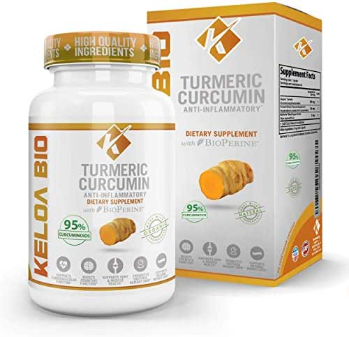 Organic Turmeric Curcumin Supplement 505 mg per Serving Pain Relief & Joint Support, Gluten Free Capsules, 60 Capsules