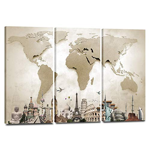 Perfect World Wall Plaque - World Map Monuments Canvas Wall Art - Ready to Hang - Large Wonders of The World Artwork Hanging Print for Home Office, Living Room, Bedroom, Kitchen, Bathroom - Made in USA - 3 Panel 47