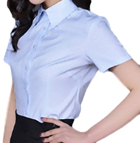 簡単に湿原ブレイズapplesnow(アップルスノー) ブラウス ワイシャツ ドレス シャツ 半袖 ベーシック トップス レディース 襟 (3XL, 青)