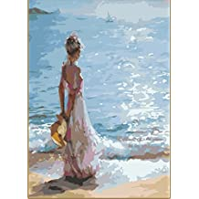 Wooden Framed Greek Art Paintworks Paint Color By Number Kits,Overlooking the Sea,16-Inch by 20-Inch