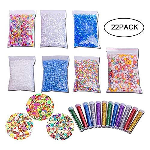Mud Supplies Kit,22 Pieces DIY Fluffy Mud Set Includes Floam Beads Beads Glitter Fish Bowl Glasses, Fruit Slices, Rainbow, Sugar Paper Accessory for Mud Making DIY Craft by Yakuin