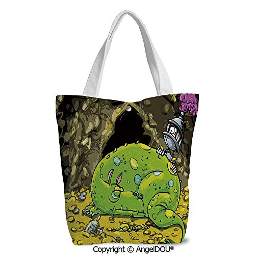 Shoulder Canvas Shopping Bag for Shopping Travel Cute Creature Sleeping on A Pil