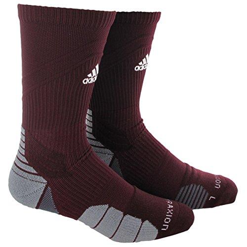 adidas Traxion Menace Football/Baseball Crew Socks, Maroon/White/Light Onix/Onix, Medium