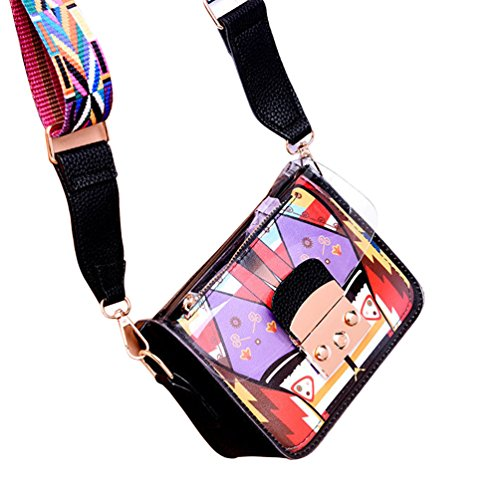 Strap Clear Black Adjustable Anqeeso Bags Crossbody Messenger Bag Shoulder Women Wide TwYxFf