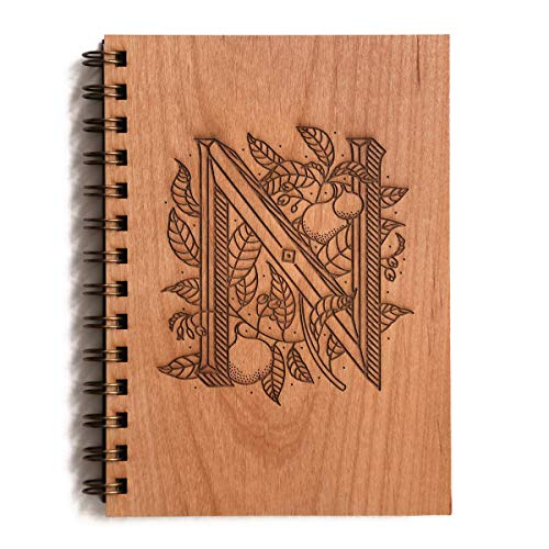 Floral Monogram N Initial Laser Cut Wood Journal - Other Letters Available (Notebook/Birthday Gift/Gratitude Journal/Mother's Day Gift/Handmade)