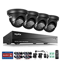 SANNCE 8CH DVR 1080N Video Security System 720P DVR and (4) 1500TVL Weatherproof Indoor/Outdoor CCTV Cameras Surveillance Kit, Motion Detection Email Alert and IR Night Vision 66ft - No Hard Drive