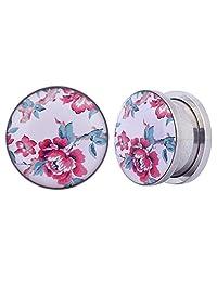 "Swanjo Pair Flared Surgical Steel Flowers Logo Ear Plugs Tunnel 2G-5/8"""