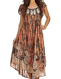 Sakkas Bree Long Embroidered Cap Sleeve Marbled Dress