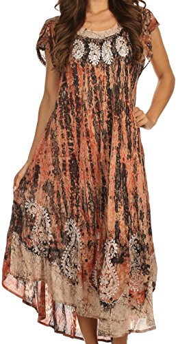 Sakkas 15900 - Bree Long Embroidered Cap Sleeve Marbled Dress - Burnt Sienna - OS