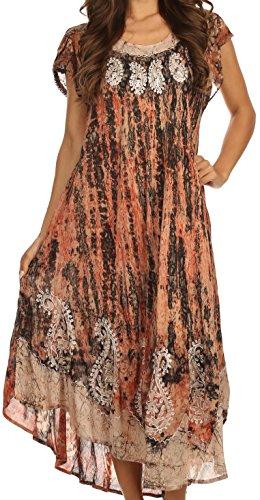 Sakkas 15900 - Bree Long Embroidered Cap Sleeve Marbled Dress - Burnt Sienna - OS