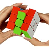 Puzgic 3x3 Magic Cube [Stress Relief ] Premium Quality Speed Cube For Anti-anxiety Adults Kids - Best Rubix Puzzle Toys Twist Cyclone Stickerless Magic Cube Colorful[Better than Rubiks Cube]