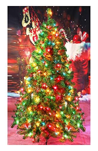 CASA CLAUSI Christmas Tree 6 Feet 300 pre-lit Multicolored Lights Artificial Green Madison Pine ()
