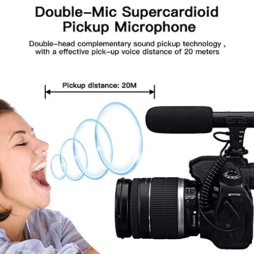 Video Microphone, SAMTIAN Camera Microphone for DSLR Interview Shotgun with Windscreen VideoMic for Sony Canon Nikon Panasonic (3.5mm Interface)