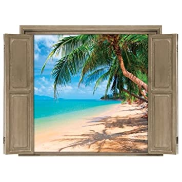 Amazoncom Walls Peel Stick Wall Decals Window Views Beach - Window decals amazon