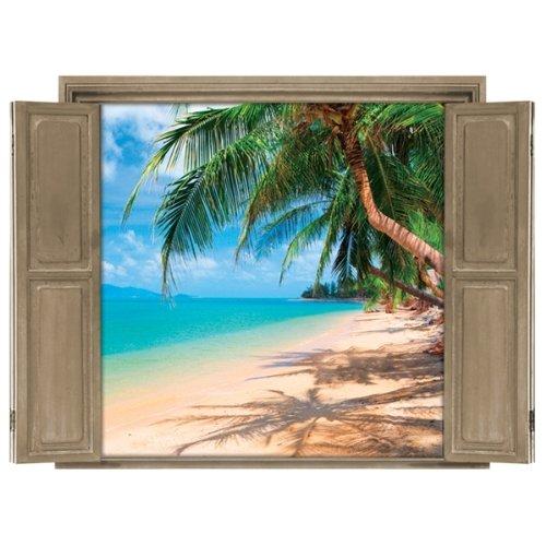 Walls 360 Peel & Stick Wall Decals Window Views Beach (12 in x 9 in)