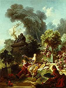 Oil painting 'Jean-Honore Fragonard - The Progress of Love - The Lover Crowned, 1771-72' printing on Linen Canvas , 10x13 inch / 25x34 cm ,the best Study artwork and Home gallery art and Gifts is this High Definition Art Decorative Canvas Prints