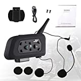 INNOGLOW Motorcycle Motorbike V6 Bluetooth Helmet Intercom Headset 1200M Full Duplex Wireless Interphone Earpiece Snowmobile Skiing Scooter 6 Riders Communication Waterproof Noise Control (1pcs)