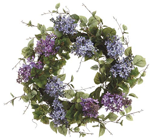 Ten Waterloo 24 Inch Artificial Lilac Blooms Wreath on a Natural Twig ()