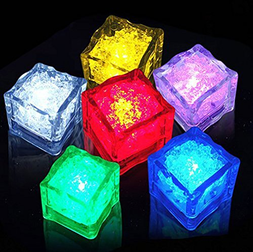 Multi-Color Liquid Sensor Ice Cubes, Dr.Light Flashing Light LED Glow Lighting for Drinking Wine Wedding Party Bar Decoration at home, bar or clubs (6 (Glow In Dark Ice Cubes)