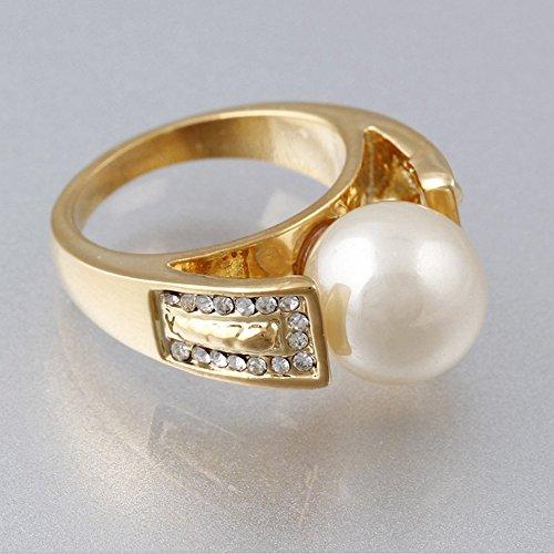 Claire Jin Simple Mode Plaque Or Bijoux Perle Imitation Bague Femme