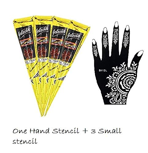India Painting Tattoo Paste Cone,4 Tube Black Paste Cone Temporary Tattoo Kit Indian Body Art Painting Drawing with free Stencil