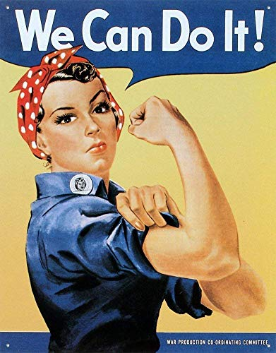 (ABCE Rosie The Riveter We Can Do It Retro Vintage Tin Sign Metal Sign 12X18 Inch)
