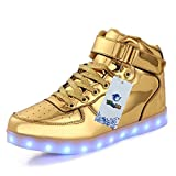 TUTUYU Kids 11 Colors LED Shoes High Top Fashion Sneakers For Halloween Golden 36