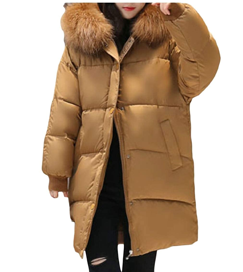 1 Keaac Women Thicker Casual Slim Down Jacket Long Sleeve Winter Coat