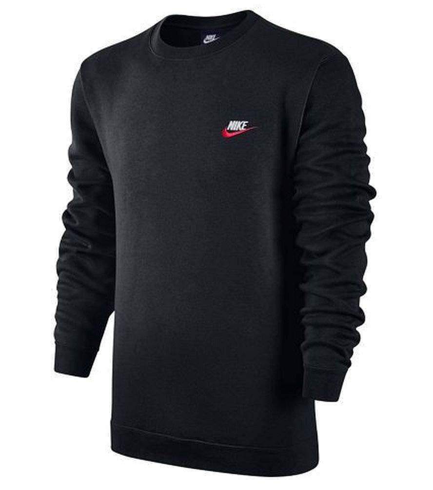 Nike Men's Sportswear Crew Sweatshirt Black/University Red/White (Small) by Nike (Image #1)