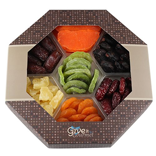 Assortment Dried Fruits Gift Basket (7 Section) - Array of Delicious Dried Medjool Dates, Apricot, Mission Figs, Kiwi, Mango, Pineapple, and Red Angelina Plums | Large Healthy Gift Basket