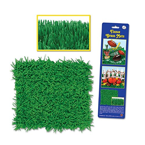 Club Pack of 24 Novelty Green Tissue Grass Mats 30