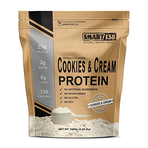 Smart¹³⁸ Natural Protein Shake | Dessert Flavors, Gluten-Free, Soy-Free, USA, Keto (Low Carb), Natural BCAAs (1000g / 2.2lbs, Cookies & Cream) Review