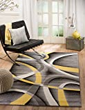 "SUMMIT BY WHITE MOUNTAIN Summit BK-PQJB-L1SZ 21 New Yellow Grey Area Rug Modern Abstract Many, 7′.4""x10.6"""