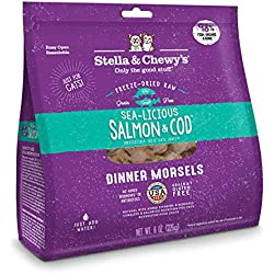 Stella & Chewy's Freeze-Dried Raw Sea-Licious Salmon & Cod Dinner Morsels Grain-Free Cat Food, 9 oz bag