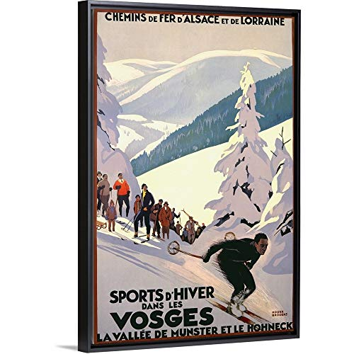 Sports dHiver Dans les Vosges, Vintage Poster Black Floating Frame Canvas Art, 22