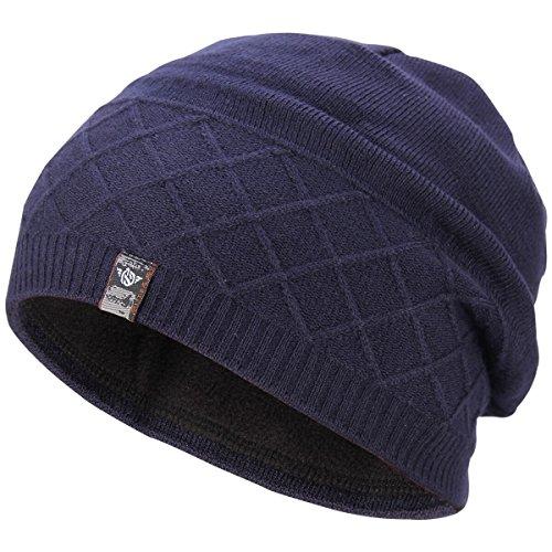 y Beanie Hats Winter Warm Knit Hat Skull Ski Cap, Navy Blue (Blue Knit Beanie Cap Hat)