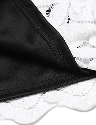 Meaneor Kurzarm Schwarz Festlich Vintage Spitzenkleid Kleid Rückenfreies Cocktailkleid Elegant Knielang Damen s-xxl Partykleid Weiß Rockabilly Zickzack Sommerkleid Grün Retro Gr