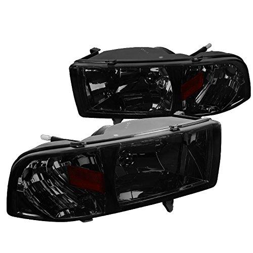 Spec-D Tuning 2LH-RAM94G-ABM Smoke Headlight (Crystal (01 Dodge Ram Crystal)