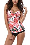 ALove Twist Front Tankini Swimsuits for Women Floral Push Up 2 Piece Bathing Suits 8