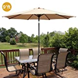 GotHobby 9ft Outdoor Patio Umbrella Aluminum w/ Tilt Crank – Tan Review