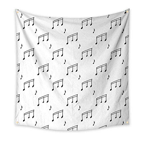 Music Wall Hanging Tapestry Musical Notes Theme Melody Sonata Singing Song Clef Tunes Hand Drawn Style Pattern Tapestry Charcoal Grey 39W x 39L Inch