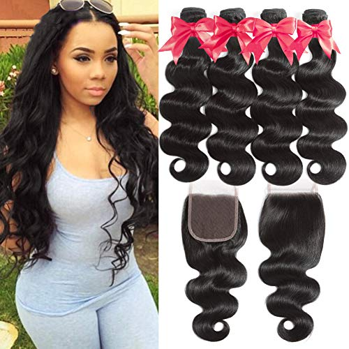 Flady 10A Brazilian Body Wave Hair 4 Bundles with Closure 100% Unprocessed Virgin Human Hair Bundles with 4x4 Free Part Closure (20 22 24 26+18)